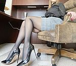 Secretary office attire with black pantyhose showing off my legs