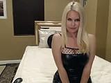 Body stocking and black latex dress